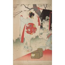 宮川春汀: Village of Cherry Blossoms, from the series Esteemed Towns and Villages (Tôsei furaku tsû), Meiji period, 1897 - ハーバード大学