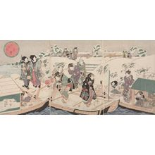 Utagawa Kunisada: Triptych: Evening Snow at Mimeguri (Mimeguri no yosetsu) - Actors and Courtesans Getting on a Boat, Late Edo period, 19th century - Harvard Art Museum