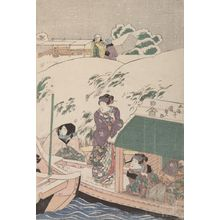 Utagawa Kunisada: Evening Snow at Mimeguri (Mimeguri no yosetsu) - Actors and Courtesans Getting on a Boat, Late Edo period, 19th century - Harvard Art Museum