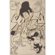 Torii Kiyonaga: Kintarô Dancing with a Monkey and Bear, Late Edo period, dated 1792 - Harvard Art Museum