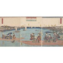歌川広重: Triptych: Sumidagawa watashi no zu, from the series Tôto meisho zue - ハーバード大学