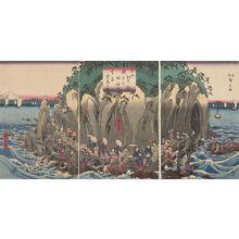 歌川広重: Triptych: Worshippers Approaching the Benzaiten Statue at the Main Shrine, Iwaya (Sôshû Enoshima Benzaiten kaichô môde Hongû Iwaya no zu) - ハーバード大学