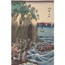歌川広重: Worshippers Approaching the Benzaiten Statue at the Main Shrine, Iwaya (Sôshû Enoshima Benzaiten kaichô môde Hongû Iwaya no zu) - ハーバード大学
