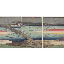 歌川広重: Triptych: Famous Places of the Eastern Capital: Evening Cool at Ryôgoku Bridge - ハーバード大学