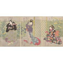 Utagawa Toyokuni I: Triptych: Three Kabuki Actors, Late Edo period, circa 1820-1825 - Harvard Art Museum