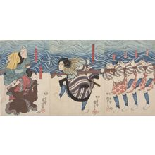 Utagawa Kuniyoshi: Triptych: Actors Sendô Gonshirô and Ofude, Late Edo period, 19th century - Harvard Art Museum