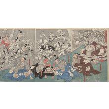 Utagawa Kuniyoshi: Triptych: Raikô Dreaming of the Earth-Spider with Demons (Minamoto Raikô-kô yakata tsuchigumo tsukuru yôkai zu), Late Edo period, 19th century - Harvard Art Museum