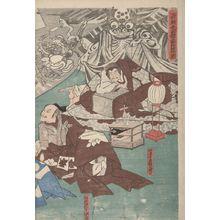Utagawa Kuniyoshi: Raikô Dreaming of the Earth-Spider with Demons (Minamoto Raikô-kô yakata tsuchigumo tsukuru yôkai zu), Late Edo period, 19th century - Harvard Art Museum