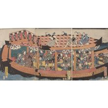 Utagawa Yoshikazu: Triptych: Pleasure Barge with Laborers on Roof - Harvard Art Museum