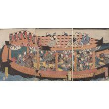 歌川芳員: Triptych: Pleasure Barge with Laborers on Roof - ハーバード大学