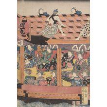 Utagawa Yoshikazu: Pleasure Barge with Laborers on Roof - Harvard Art Museum
