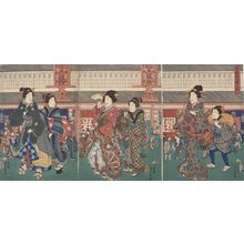 歌川芳員: Triptych: Street Scene with Geisha and Courtesan (Totô Han'ei no zu), Late Edo period, circa 1855 - ハーバード大学