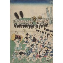 Utagawa Yoshitora: A throng of coolies surround a large norimon and scramble for coins - Harvard Art Museum