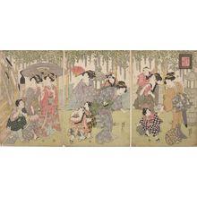 Utagawa Kunisada: Triptych: Women and Children - Harvard Art Museum