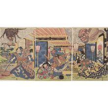Utagawa Kuninaga: Triptych: Minamoto Yorimitsu (Kumo no sei ni rayama saru zu Yorimitsu) - Harvard Art Museum