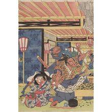 Utagawa Kuninaga: Minamoto Yorimitsu (Kumo no sei ni rayama saru zu Yorimitsu) - Harvard Art Museum