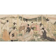 歌川國長: Triptych: Daimyo's Son Viewing the Sumida River - ハーバード大学