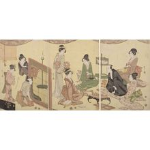 Hosoda Eishi: Triptych: Banquet Scene with Optical Device - Harvard Art Museum