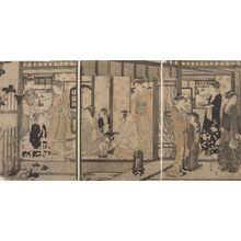 Hosoda Eishi: Triptych: Fûryû Yatsushi Genji: Asagao, Late Edo period, circa 1790 - Harvard Art Museum