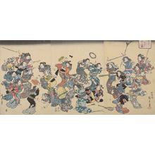 歌川広重: Triptych: Beating the Second Wife According to the Old Custom, Late Edo period, circa 1852 - ハーバード大学