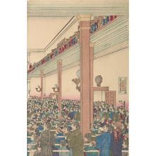 Adachi Heishichi: Lecture at the Meiji Meeting Hall (Meiji Kaidô enzetsu no zu), Meiji period, circa 1880 - ハーバード大学