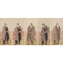 Katsukawa Shunsho: Pentaptych: Kabuki Actors from the play Hatsumombi Kuruwa Soga, performed at the Nakamura Theater from the second month of 1780, Edo period, 1780 (2nd month) - Harvard Art Museum