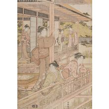 Katsukawa Shunko: Beauties on Verandah Admiring Iris Pond - Harvard Art Museum