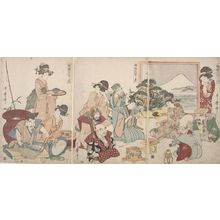 喜多川歌麿: Triptych: Seven Gods of Good Fortune (Shichifukujin) and Otafuku at New Year's - ハーバード大学