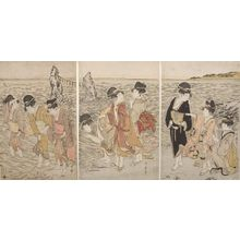喜多川歌麿: Triptych: Women at the Beach of Futami-ga-ura, Late Edo period, circa 1803-1804 - ハーバード大学
