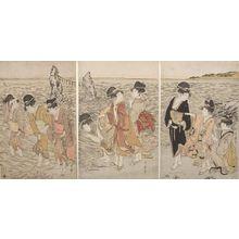 喜多川歌麿: Triptych: Women at the Beach of Futami-ga-ura, Late Edo period, circa 1803-1804 - ハーバード大学