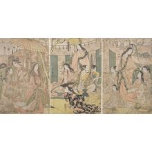 喜多川歌麿: Triptych: Hideyoshi and his Five Wives Viewing the Cherry Blossoms at Higashiyama, Late Edo period, circa 1803-1804 - ハーバード大学