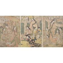 喜多川歌麿: Triptych: Hideyoshi and his Five Wives Viewing the Cherry Blossoms at Higashiyama, Late Edo period, circa 1803-1804 - ハーバード大学