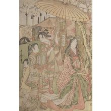 Kitagawa Utamaro: Hideyoshi and his Five Wives Viewing the Cherry Blossoms at Higashiyama, Late Edo period, circa 1803-1804 - Harvard Art Museum
