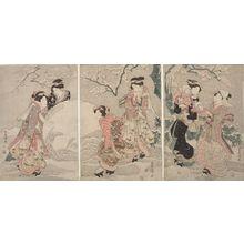 Utagawa Toyoshige: Triptych: Six Women and Child in a Snowy Garden, Late Edo period, circa 1820s - Harvard Art Museum