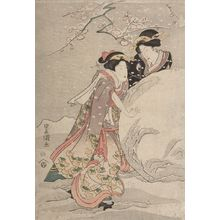 歌川豊重: Two Women in a Snowy Garden, Late Edo period, circa 1820s - ハーバード大学