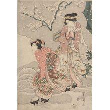 Utagawa Toyoshige: Two Women in a Snowy Garden, Late Edo period, circa 1820s - Harvard Art Museum