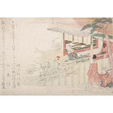 Ryuryukyo Shinsai: Ono no Komachi on the Veranda, with a Nobleman and Page Looking In - Harvard Art Museum