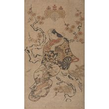 Torii Kiyonobu I: Actor HAYAKAWA HASSE AS A COURTESAN SEATED ON THE TRUNK OF A CHERRY TREE, Mid Edo period, datable to 1710 - Harvard Art Museum