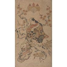 鳥居清信: Actor HAYAKAWA HASSE AS A COURTESAN SEATED ON THE TRUNK OF A CHERRY TREE, Mid Edo period, datable to 1710 - ハーバード大学