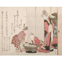 柳々居辰斎: Courtesan Watching Her Two Kamuro - ハーバード大学