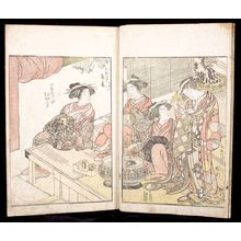 勝川春章: A Comparison of Beauties of the Green Houses: A Mirror of Their Lovely Forms (Seirô bijin awase sugata kagami) Volume Two, Edo period, published 1776 - ハーバード大学