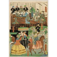 Utagawa Yoshitora: View of the Amusements of the Foreigners in Yokohama, Bushu (Bushu Yokohama gaikokujin yûkyô no zu), published by Yamadaya Shôjirô, Late Edo period, first month of 1861 - Harvard Art Museum