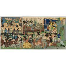 歌川芳虎: Triptych: View of the Amusements of the Foreigners in Yokohama, Bushu (Bushu Yokohama gaikokujin yûkyô no zu), published by Yamadaya Shôjirô, Late Edo period, first month of 1861 - ハーバード大学