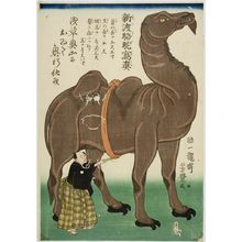 歌川芳豊: Newly Arrived Camel Drawn from Life, Late Edo period, fifth month of 1863 - ハーバード大学