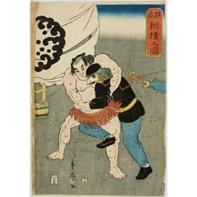 無款: Foreigners Sumo Wrestling (Yokohama sumo no zu), published by Itoya, Late Edo period, second month of 1861 - ハーバード大学