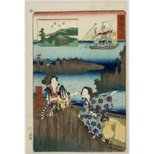 Ochiai Yoshiiku: Gathering Seaweed, from the series Famous Places on the Tôkaidô (Tôkaidô meisho no uchi), published by Jôshûya Jûzo, Late Edo period, seventh month of 1863 - Harvard Art Museum