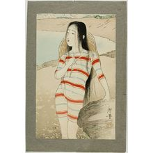 月岡耕漁: Sea-Bathing Beauty, Meiji period, dated 1903 - ハーバード大学
