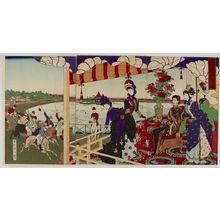 無款: Triptych: Ueno Shinobazu Horserace, Meiji period, 1890 - ハーバード大学