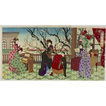 Unknown: Triptych: Chorus in the Plum Garden, Meiji period, late 19th century - Harvard Art Museum