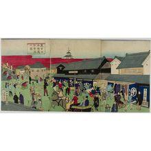 Ikkei: Triptych: Nihonbashi Street Scene, Meiji period, late 19th century - Harvard Art Museum